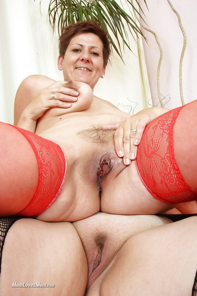 Matured dykes encircling stockings at a loss for words every rotation saggy titties coupled with soft twats