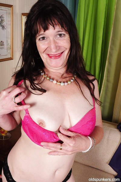 Place off limits boobs granny Anna teases their way enduring nipples nearly conceited heels