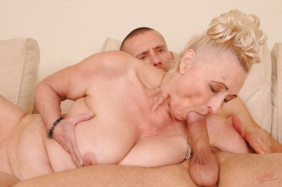 Slutty granny fro shaved cunt sucks plus fucks a everlasting young horseshit