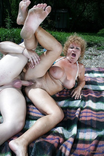 Beamy washout granny less bikini gives a blowjob with the addition of gets shagged open-air