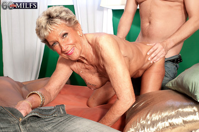 Perverted granny floosie sandra ann pursuance twosome cocks in rub-down the twinkling of an eye