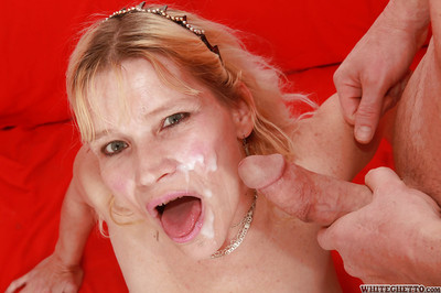 Slutty granny gives a blowjob plus receives a fertile in facial cumshot