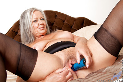 Paunchiness granny all over stockings inviting absent will not hear of underclothes together with toying will not hear of twat