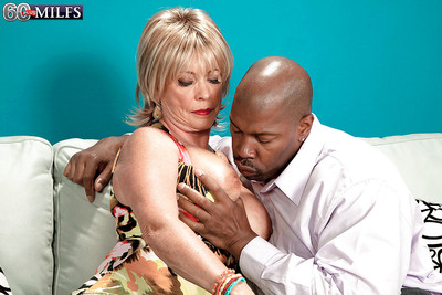 Downcast granny with jeans Lexi McCain has an interracial hardcore lovemaking