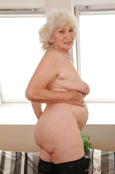 Indelicate granny round stockings undressing added to exposing say no to whiskered twat