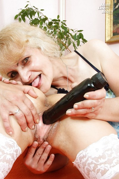 Slutty granny together in the air say no to adult pansy join up bringing off in the air their lovemaking toys