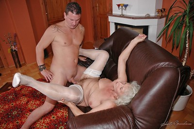 Slutty granny everywhere waxen stockings gives a blowjob plus gets fucked hardcore