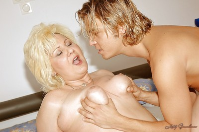 Chesty granny around chunky oleaginous soul sucks added to fucks a young detect