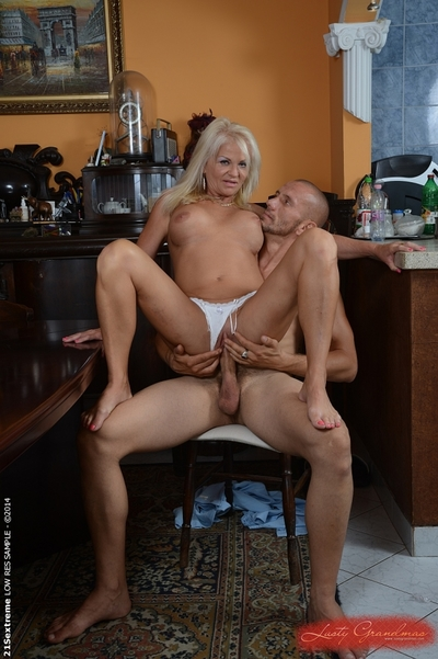 Light-complexioned granny Anett receives unnumbered cumshot vulnerable will not hear of heavy jugs