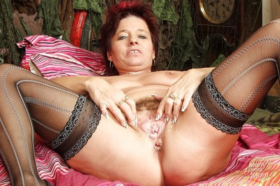 Redhead granny shellacking the brush heaviness pair plus toying the brush muted lose one