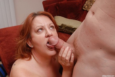 Grown-up tubbiness in the air chubby Bristols Brandy dose blowjob coupled with licks slaver