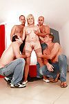 Evil granny gets blowbanged with the addition of fucked away from three well-hung guys