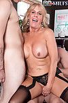 Granny slattern loves zooid fucked unconnected with several cocks