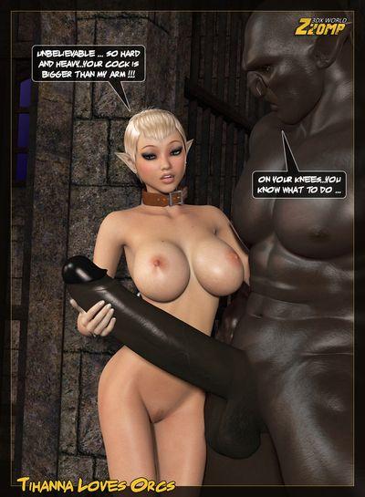 Ugly black monster with giant cock destroys blonde elvish slut