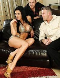 Busty pornstar Aletta Ocean gets into sex with double penetration