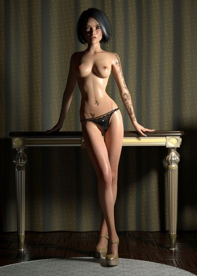 Amazing solo girl poses half-naked on these 3d pics