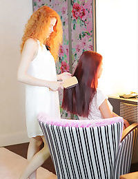 Hot redhead lesbians shed hot lingerie for kissing- pussy licking and tribbing