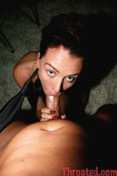 Jeanie deepthroats and plays with her shaved pussy