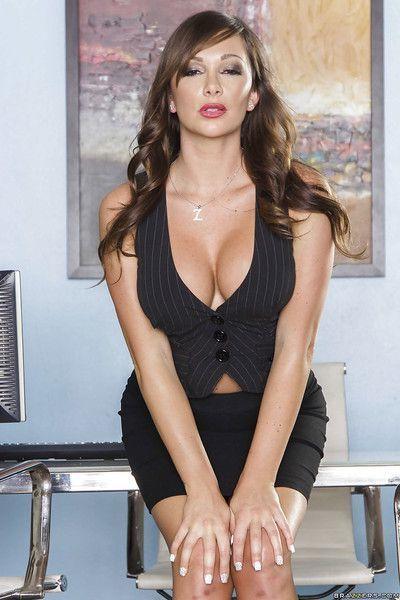 Office secretary with big tits Destiny Dixon poses in high heels