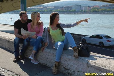 Euro chicks in denim jeans agree to threesome sex with long penis after selfie