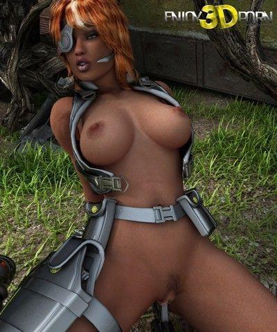 Busty redhead warrior babe masturbates at outdoor