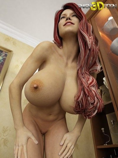 Super hot redhead babe with huge tits