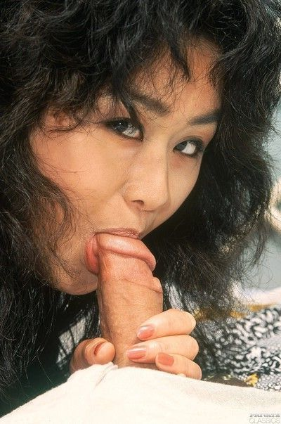 Asian geisha fucked in her hairy pussy and asshole in anal three