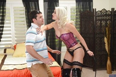 Blonde mistress Gigi is licking and eating a hard amateur dick