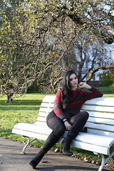 Brunette glamour model Malena in boots posing non nude outdoors