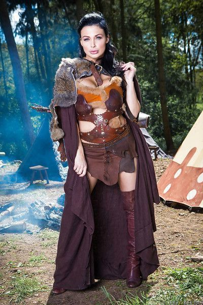 Brunette babe Aletta Ocean striking naughty poses outdoors in cosplay getup