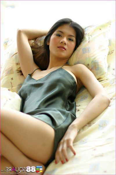 Bawdy Japanese youthful darling shows bushy fur pie