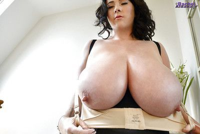 Buxom babe Rachel Aldana exposing huge knockers and long nipples