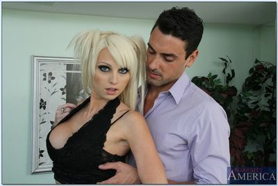 Big busted blonde coed Rikki Six gives a blowjob and gets shagged hardcore