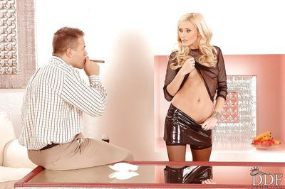 Jizz-starving blonde vixen has some hard fun with three hard pricks