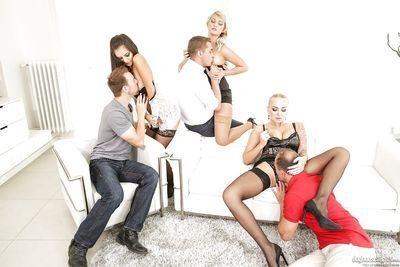 Hot sluts getting DP & sucking cock in stockings and heels in wild orgy