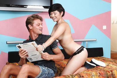 Cumshot scene of a busty teen schoolgirl Netta and her man