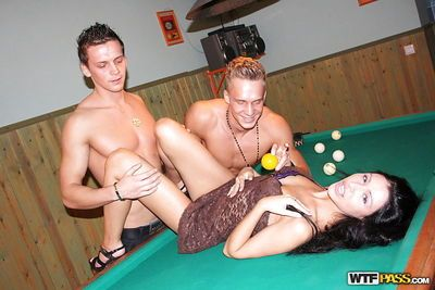 Tempting anal slut enjoys a hard threesome groupsex on the pool table