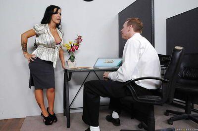 Busty Latina MILF Jenna Presley has fun at the office fucking hardcore