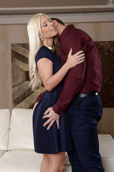 Hot blonde pornstar Jessie Volt spreading shaved cunt for tongue licking