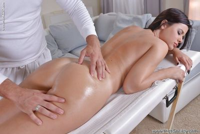 An oily massage leads to a BJ and hard ass pounding for babe Cherise
