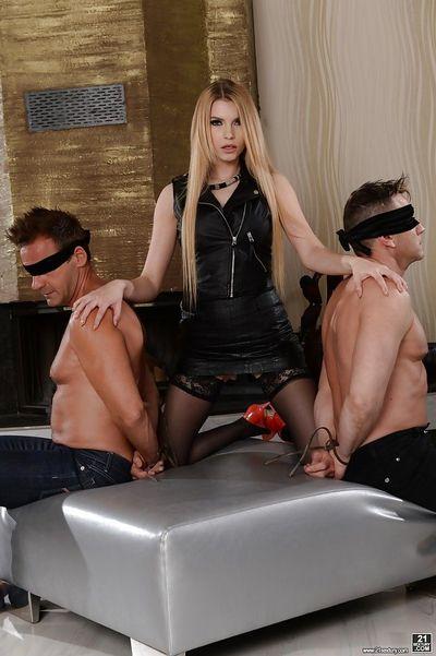 Amazing threesome scenes with blonde model Karina Grand