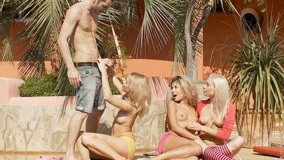 Teen outdoor foursome anal orgy