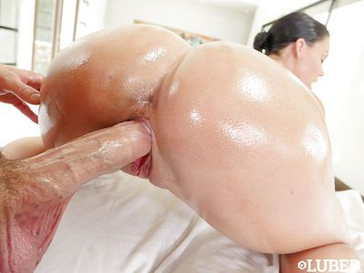 Big boobed chick Peta Jensen having pink twat fucked after oiling nude body