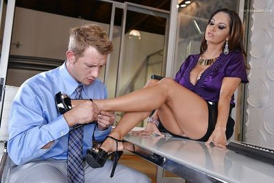 Barefoot MILF Ava Addams having her toes sucked upon by an insubordinate