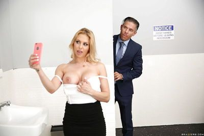 Buxom MILF secretary Rachel RoXXX giving gloryhole bj in bathroom at work