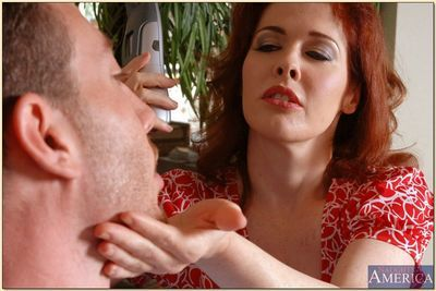 Mature redhead Mae Victoria takes cock in her cunt and cum on her tits