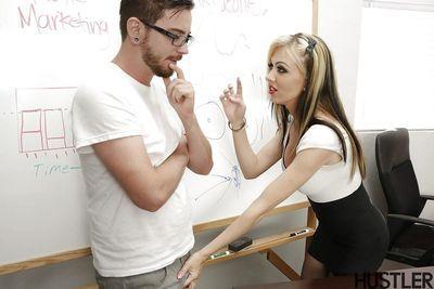 Busty blonde teacher Jeannie Marie Sullivan having pussy ate out on desk