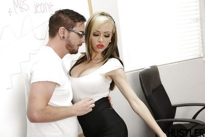 Busty blonde teacher Jeannie Marie Sullivan having pussy ate out on desk