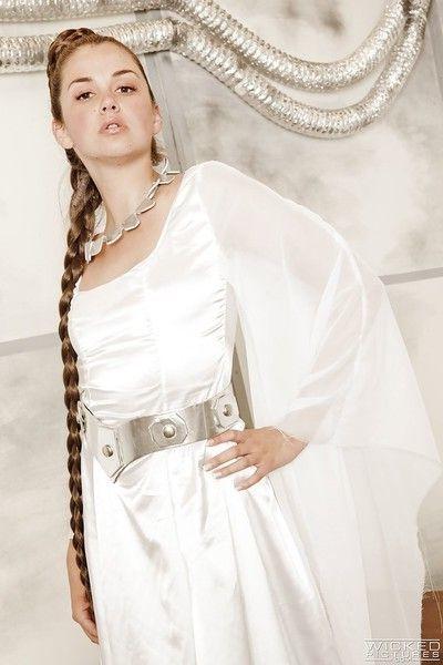 Solo girl Allie Haze baring perky tits during cosplay pornstar photo shoot