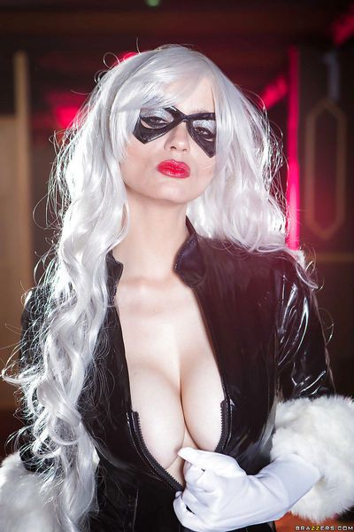 Blonde solo girl in mask and cosplay outfit exposing big natural tits